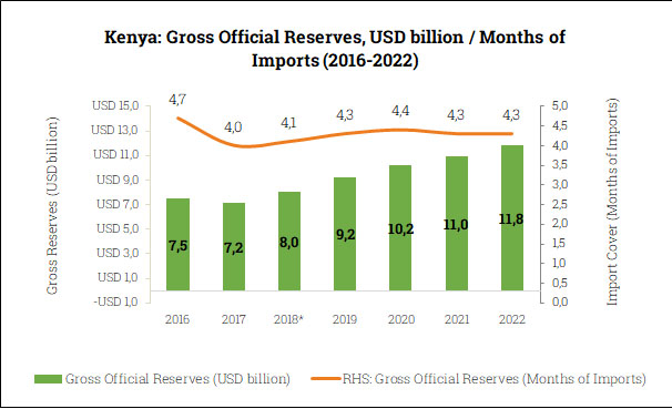 Gross Official Reserves in Kenya (2016-2022)