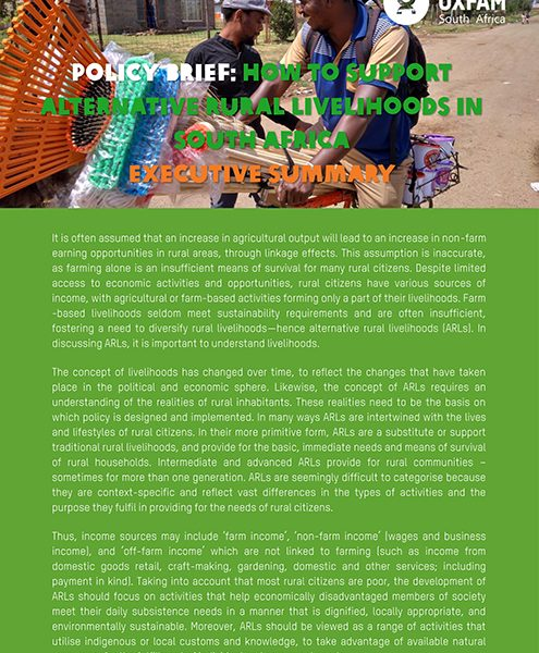 Policy Brief on Alternative Rural Livelihoods in South Africa